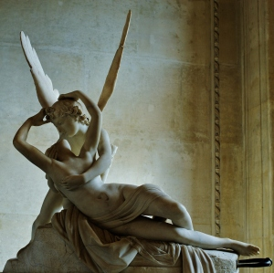 Here's another (better lit) look at Canova's sculpture, located at the Louvre.